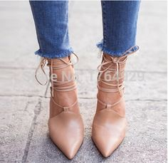 Name Brand Chic Lace up Sexy Ankle Wrap Strap Sandals Pointed Toe ...