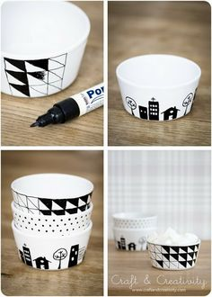 DIY – Pintar platos y tazas de porcelana - DIY Pintar platos y tazas de porcelana Das schönste Bild für diy art , das zu Ihrem Vergnügen - Sharpie Crafts, Sharpie Art, Sharpies, Glitter Crafts, Diy Projects To Try, Craft Projects, Craft Ideas, Diy Ideas, Diy Becher