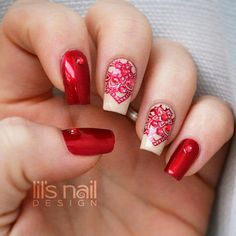 Deep red stamped nails