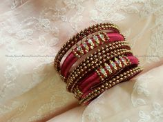 Maroon/Red Handcrafted Silk Thread Work Crystal Studded Bangles - Size 2.8-Bangle Bracelet by NIRMITY on Etsy