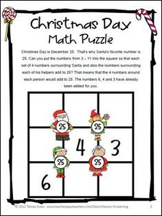 Christmas Day Math Puzzle FREEBIE from Christmas Math Puzzles by Games 4 Learning Contains 2 printable Christmas Math Puzzles.