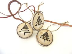 Christmas Tree Ornaments, 3 Wood Abstract Christmas Trees, Tree Slice Ornament…