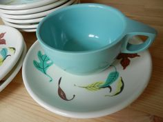 Watertown Lifetime Melmac Aqua Leaf Pattern Cups and Saucers, Desert Plates and Creamer. via Etsy.