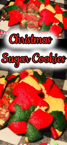 Classic sugar cookie dough with the colors of Christmas scattered through out and cut out into Christmas shapes like a star, snowman, a...