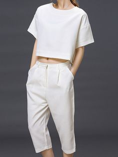 White Short Sleeve Loose T-shirt With Cropped Pants | cool and unique design for women two-piece suits!