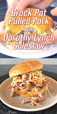 Perfectly done pulled pork, slow cooked in your crock pot all day, piled on a bun and topped with Dorothy Lynch cole slaw. Wrap Recipes, Pork Recipes, Slow Cooker Recipes, Crockpot Recipes, Cabbage Recipes, Delicious Recipes, Coleslaw, Pork Wraps, Seafood Appetizers