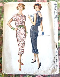 McCalls 4477  Vintage 1950s Sheath Dress Pattern with by Fragolina