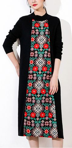 Vintage Long Sleeve Embroidery Knitting Slim Dress