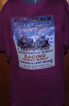 Flat Track Racing Sign Motorcycle Biker New Screenprint T-Shirt Adult Mens Womens Small Blue Tee by TimeofReason on Etsy