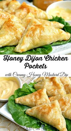 Honey Dijon Chicken Pockets with Creamy Honey Mustard Dip. Amazing chicken pockets snack that kids and adult will adore. Flaky puff pastry filled with cheese and juicy chicken that was cooked in honey Dijon sauce. Honey Dijon Chicken, Sesame Chicken, Pesto Chicken, Marinated Chicken, Honey Mustard Dip, Chicken Pockets, Puff Pastry Recipes, Puff Pastry Appetizers, Puff Pastries
