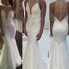 Long Trumpet/Mermaid Beading Floor-length Prom Dresses 2017