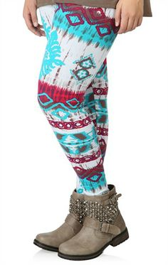 Deb Shops Plus Size Teal, White and Wine Aztec Print Legging