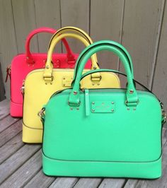 KATE-SPADE-Rachelle-Wellesley-Leather-Tote-Purse-Bag-Pink-Green-Yellow-NWT-295