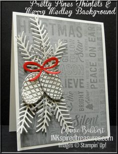 Stampin' Up!'s Merry Medley background stamp is combined with Pretty Pine Framelits on this Smoky Slate, Silver and White card!  Created by Connie Babbert, www.inkspiredtreasures.com, #stampinup, #inkspiredtreasures