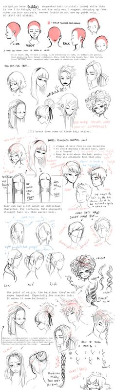Manga Drawing Tips Hair Tutorial by ~shark-bomb on deviantART - Drawing Lessons, Drawing Techniques, Drawing Tips, Drawing Sketches, Drawing Ideas, Sketching, Sketch Art, Drawing Style, Sketch Ideas