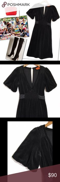 """JUICY COUTURE VELVET VELOUR TIE BACK SMOCKED DRESS JUICY COUTURE  VELVET VELOUR TIE BACK V - NECK SMOCKED DRESS  SZ S  34-36"""" BUST 38"""" LENGTH 80% COTTON 20% POLYESTER  RETAILS $198  NEW WITH TAGS Juicy Couture Dresses"""