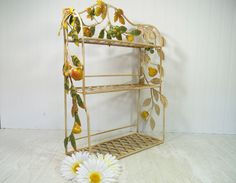 Wrought Iron Antiqued Hanging Shelf - Basket Weave Display Shelves & Wrought Iron Applied Flowing Vines of Metal Leaves and Chalkware Fruit by DivineOrders