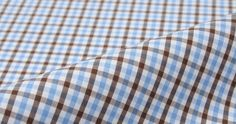 Light Blue and Brown Mini Gingham by Proper Cloth