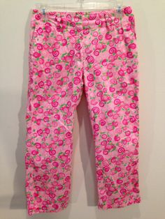 LILLY Pulitzer Capri Crop Cruise Pants Pink Green Swirl Snails Womens Size 4 #LillyPulitzer #CaprisCropped