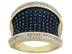 1.05ctw White Diamond & Blue Velvet Diamond(Tm)  Engild(Tm) 14k Yellow Gold Over Silver Band http://www.jtv.com/shop/clearance/clearance?prefn1=A_TYPE_ID&start=288&sz=96&srule=pricel&prefv1=Ring&showProducts=1