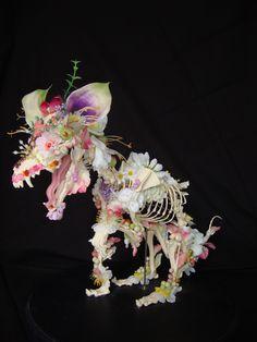 Animal Skeleton Sculptures Decorated with Flowers by Amsterdam-based artist  Cedric Laquiez http://laquiezecedric.blogspot.com/- DesignTAXI.com