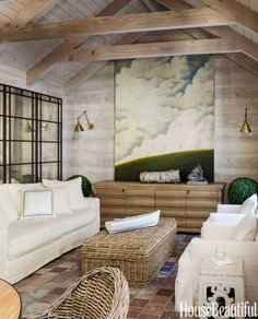 Poolhouse Faux bois wallpaper, painting | Benjamin Dhong California House - House Beautiful