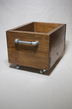 Industrial Storage Box On Wheels, Wood Storage Bin On Casters, Industrial Box…