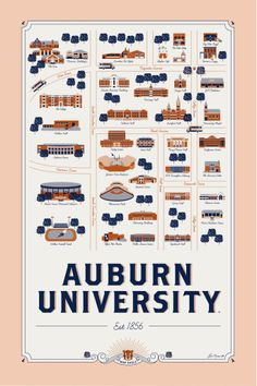"Auburn University ""map"" from Alma Mater Maps. Love it! $35"