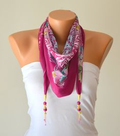 Hot pink cotton tringle yemeni scarf designed with by bstyle, $22.00