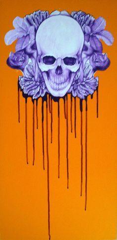 Jermaine Reihana Acrylic on canvas 2011 Girl Skull, Skull Art, Skull Wallpaper, Maori Art, Skull And Bones, Optical Illusions, Macabre, Tattoo Studio, Photo Art