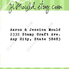 Custom Rubber Address Stamp by JLMould.etsy.com Perfect for Return address, wedding, ciy custom rubber stamps  0222