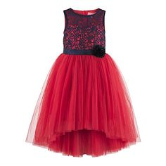 Girls red blue floral lace bodice hi low dress. Blue floral lace work on front bodice. Hi-Low skirt pattern. Satin sash belt tie-up for easy wearing & better fit. Button opening at the back. Cotton lining at the bodice for skin comfort.