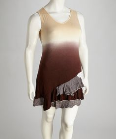 Take a look at this Brown Ombré Plus-Size Sleeveless Dress by Lily on #zulily today!