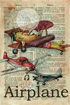 Papel vintage con aviones