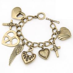 Buy Womens Peace Heart Wings Cross Pendant Bracelet at Wish - Shopping Made Fun Bracelets Design, Metal Bracelets, Bangle Bracelets, Jewelry Design, Designer Jewellery, Bangles, Fashion Bracelets, Fashion Jewelry, Enchanted Jewelry