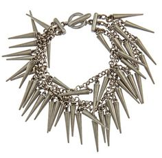 Ahhh, jewelry... of course, spikes are the first to come to mind. I'm just so rock&&roll, what can I say? ;P I'm thinking something like this to go with the outrageously printed jacket... those colors against silver spikes. So right. #nastygal #minkpink