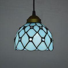 Tiffany Pendant Light Mediterranean Sea Style Lake Blue Color Bedroom Light Fixtures E27 110-240V