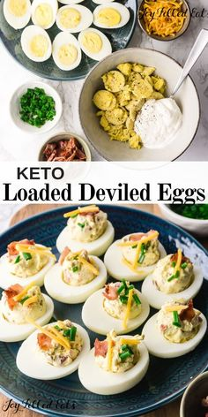 Loaded Deviled Eggs with Bacon - Keto Low Carb THM S Gluten-Free - These delicious keto deviled eggs with bacon have a creamy and velvety sour cream filling with savory cheddar cheese crunchy bacon and fresh chives. Low Carb Keto, Low Carb Recipes, Healthy Recipes, Diet Recipes, Healthy Food, Best Keto Breakfast, Breakfast Recipes, Breakfast Bars, Breakfast Gravy