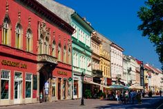 The colourful main street in Kosice