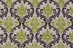 Premier Prints Madison Drapery Fabric in Chocolate/White/Chartreuse