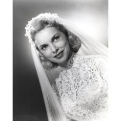 Janet Leigh Posed in White Silk Lace Wedding Dress with Sheer Silk Veil Photo Print #laceweddingdresses