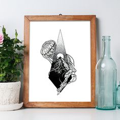 Jellyfish meets nature art print. Perfect minimalist geographic illustrative decor for hikers that love the sea.