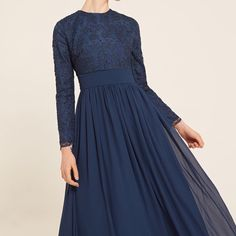 INAYAH | Your perfect modest prom dress awaits you... Blue Basque Prom Dress with Lace www.inayah.co