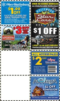 Get discounts on shows, attractions and more in Pigeon Forge and Gatlinburg, TN. Gatlinburg Coupons, Aerial Tramway, All Coupons, Mountain Vacations, Pigeon Forge, Discount Coupons, Amusement Park, Mountains, Mom