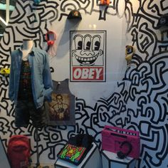 Downtown Philly's, Urban Outfitters new Keith Haring infused window display.
