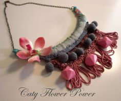 Your place to buy and sell all things handmade Amazing Crafts, Fun Crafts, Crafts For Kids, Fabric Necklace, Crochet Necklace, Flower Fabric, Acrylic Beads, Flower Power, Jewelry Collection