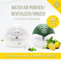 [S$19.90](▼81%)[SG Super Mart]Best Seller[Cleans Air and Removes Odour]Water Air Purifier/ Revitalizer/ Passive Humidifier -Repels Mosquitoes too! Air Revitalisor/ Aromatherapy Solutions/ Ionizer/ Eliminate Haze