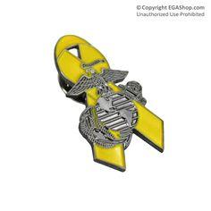 Lapel Pin, Yellow Ribbon with Eagle, Globe and Anchor