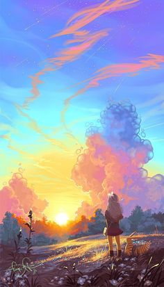 Vibrant, exciting, and colorful art. Fantasy Art Landscapes, Fantasy Landscape, Landscape Art, Illustration Fantasy, Japon Illustration, Anime Scenery Wallpaper, Nature Wallpaper, Wallpaper Backgrounds, Aesthetic Art