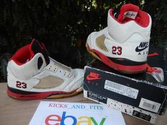 size 40 10b3e b9f05 VTG OG Nike Air Jordan 5 (V) 1990 OG (Not Retro) White Fire Red-Black 8423  5.5Y